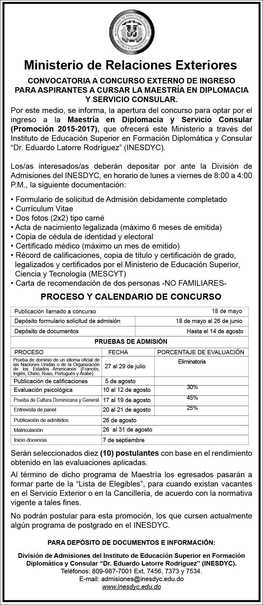 Convocatoria a Concurso Interno