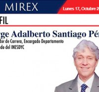 Boletín del MIREX de fecha 17 de octubre sobre el embajador Jorge Adalberto Santiago Pérez, Encargado Departamento Post Grado del INESDYC